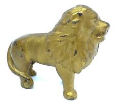 Vintage Old 1920's Cast Iron Painted Gold Coin Bank Lion Figurine Figure Metal