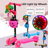3 Wheel Adjustable Kids Kick Board Folding Kick ScooterPush T-Bar LED Flashing