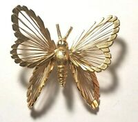 Vintage Monet Gold Tone Butterfly Pin Wire Filigree Glittery Brooch Lapel Pin