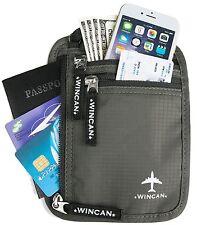 WINCAN RFID Neck Wallet Blocking- Concealed Passport Holder & Travel Pouch Grey