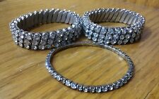 Set 3 Vintage Fashion Jewelry Silver Bracelet 3-Row CZ Rhinestone Stretch OSFA