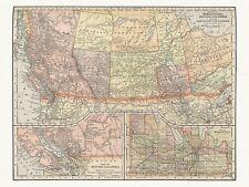 Old Antique Decorative Map of Manitoba British Columbia Canada Appleton ca. 1892