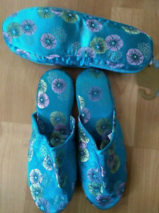 NWT M&S Turquoise Oriental Chinese Satin Look Travel Slippers & Zip Pouch Sz 5-6