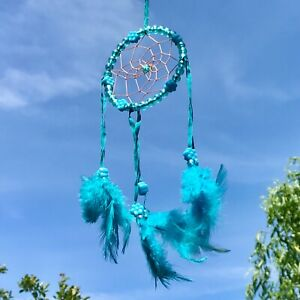 New Turquoise Blue Flower Bead Dream Catcher Native American Wall Hanging Mobile
