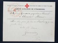 s2215) Belagerung Strassburg 1870 Karte Rotes Kreuz Comite Auxiliaire Strasbourg