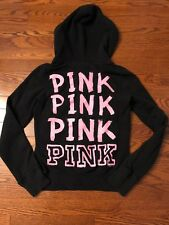 Victoria's Secret LOVE PINK 86 Hoodie Sweatshirt Full Zip Jacket Black sz SMALL