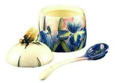 Old Tupton Ware Tube Lined Honey Pot With Spoon Blue Iris Design Boxed 1363