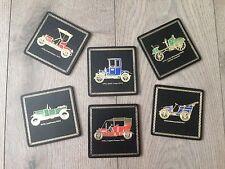 Vintage Mid Century Black and Gold Leather Coasters Vintage Opel Vauxhall Cars