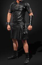 Classic black REAL LEATHER Gothic kilt skirt