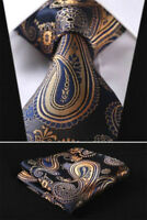 Mens Wedding Tie Gold Blue Yellow Floral Paisley Silk Free Hanky Set 629