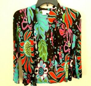ALBERTO MAKALI Colorful Crinkled Sequins Floral Print Top Blouse Sz L Polyester