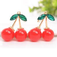 1Pair Women Fashion Cherry Drop Dangle Rhinestone Ear Hook Earrings Jewelry Gift
