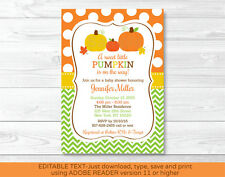 Fall Pumpkin Chevron Printable Baby Shower Invitation Editable PDF
