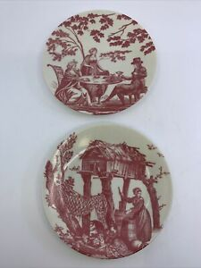 """Limoges France Philippe Deshoulieres Jouy Pink Toile Small Plate 6"""" Wall Decor"""