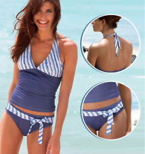 Neckholder Tankini 2 Set blau/weiß Größe L 42/44 Schwimmanzug Badeanzug Bikini