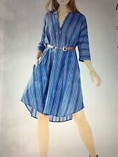 BCBG Max Azria Kieley Striped Shirt Dress Vintage blue- Medium M $198