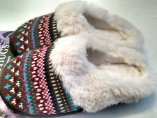 Womens Slippers Faux Fur Knit Top Indoor Outdoor Ladies Bare Hugs Small 5-6 NWT