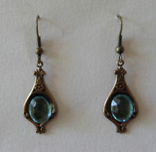 Brass Hook Glass Silver Plated Costume Earrings