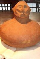 """Mississippian Pottery Ancient Male Effigy figure LARGE Vessel 8"""" D. & 7 1/2"""" H"""