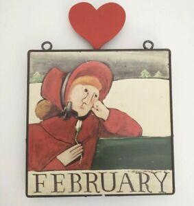 "Nancy Thomas~FEBRUARY~Wall Plaque~Girl~Heart~Folk Art~1988~Calendar~8""x8""~DAMAGE"