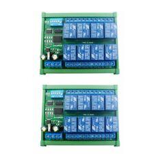 2 PCS DC12V 8 Ch RS485 Relay Board Modbus RTU UART Remote Control Switch DIN35