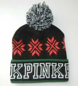 PINK VICTORIA'S SECRET Black/Green/Red WINTER BEANIE Warm Christmas Ski Hat Cap