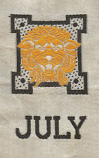 Vintage/antique early 1900s woven silk-use in crazy quilt- Zodiac: July