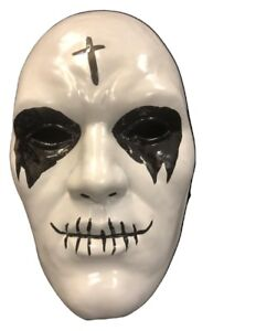 UK THE PURGE PLASTIC CROSS ANARCHY FACE MASK HALLOWEEN FANCY DRESS UP NEW MOVIE