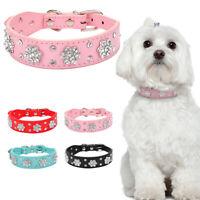 Bling Rhinestone Pet Dog PU Leather Collars Flower Necklace for Small Medium Dog