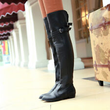 Ladies Leather Pleated Flats Over The Knee Boots Motorcycle Knight Shoes Plus Sz
