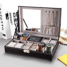 8 Slot Black Watch Box Jewelry Storage Case Necklace Organizer w/ Lock Mirror