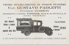 1940 FIRENZE PRIMO STABILIMENTO DI POMPE FUNEBRI CARRI AUTOCARRI VETTURE E SCUDE