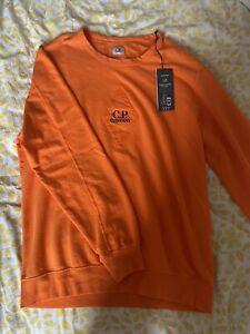 Men's C.P. Company Embroided Logo Crew Neck Cotton Sweatshirt in Orange
