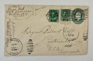 1915 WW1 Uprated Redirected Victoria BC to Proctorville/Morgan Utah USA