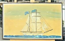 CHRISTINA BELEKOU GREEK ARTIST FOLK ART PAINTING ACRYLIC ON BOARD SHIP SIGNED
