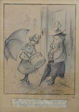 Francisque POULBOT (1879-1946) Dessin original : la patronne a deux jumeaux !