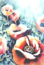 """Orig. Water Color Painting """"POPPIES""""  Artist Signed 22""""x 30"""" Double Mayyed"""