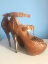 Topshop 100% Leather Stiletto Strappy, Ankle Straps Heels for Women