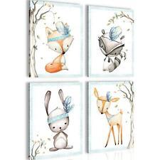 Bilder Kinderzimmer Tiere Wandbild 60 x 80 cm Vlies - Leinwand Bild XXL Deko Set