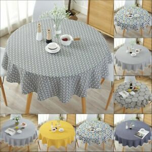 Tassel Simple Round Tablecloth Kitchen Plain Party Dinning Home Decoration