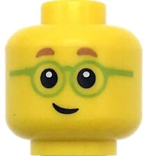 Lego New Minifigure Head Glasses with Green Frames Eyebrows Male Boy Head