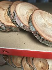 Set Of 10 Log Slice Centre Pieces 10-15cm Wood Wedding Display Approx 2cm thick