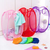 1X Children Toy Mesh Storage Bag Folding Basket Clothes Laundry Hamper Organizer