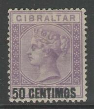 Gibraltar SG20 1889 50 C SUR 6d Lilas Vif MTD Comme neuf