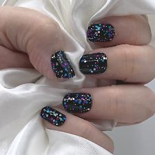 Confetti Black color real nail polish strips ZZ126 street art wrap