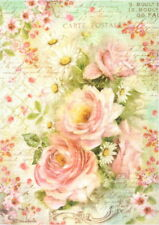 Rice Paper for Decoupage Scrapbook Craft Sheet - Roses and Daisies