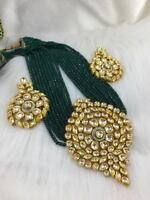 Indian Wedding Green Onyx Bead Pendant Necklace Earring Bollywood Ethnic Jewelry