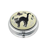 Pill Box Silver Plated Black Cat Tail Up Kitten Design Brand New and Boxed