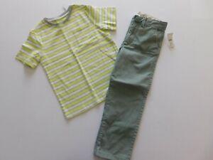 NWT Gap Toddler Boy 2 Pc Set Striped T-Shirt Green Pants Adjustable Waist 5 Yrs