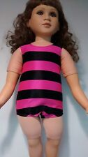 hot pink and navy stripe swim suit fits 23 inch My Twinn doll handmade and new